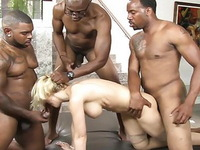 Skinny Blonde Surrounded By Black Bulls Gets Destroyed In Both Holes