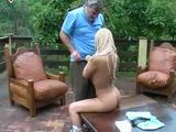 Daddy Fucks Blonde Teen Anal On Terrace