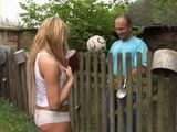 Daddy Gets From Neighbor Teen More Then Just a Blowjob Through Fence In Exchange For Ball