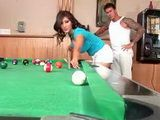 Slutty Brunette Came To Pool Club To Play With Different Kind Of Balls