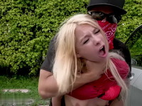Cute Blonde Teen Stalked By Horny Masked Man
