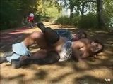 Busty Chick Gets Fucked In A Public Park In Front All Of The Runners And Walkers