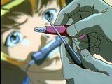 Bondage anime with muzzle gets electric shock