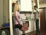 Hot Shemale Fucks Plumber In Kitchen