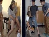 Naughty Professors And Students Fuck Poor Stuck Teacher Instead Of Heping Her