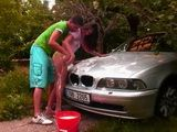 Backyard Carwash Ends Up With Hard Anal Fuck For This Teen