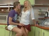 Blondie Talked Into Anal In The Kichen