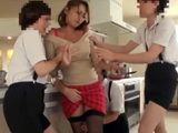 Japanese Mother Could Not Defend Herself From Bunch Of Young Horny Boys