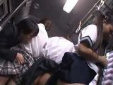 Frightened Japanese Schoolgirls Gets Groped And Fucked In A Bus By An Old Pervert On Their Way Home  part 1