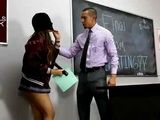 Sexy Teen Schoolgirl Gets Caught By Teacher While Trying To Steal Tests For Exam